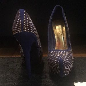 Navy with gold stud pumps